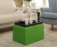 Lime green storage ottoman