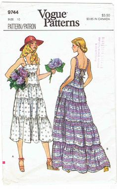 Vogue 9744 Vintage Sewing Pattern Misses Sundress, Ruffled Dress, Midi Dress, Evening Dress Size 8 Bust Robes Vintage, Vintage Dresses, Vintage Outfits, Vintage Fashion, Edwardian Fashion, Floral Dresses, Sundress Pattern, Vintage Vogue Patterns, Seventies Fashion