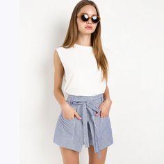 Women Loose Casual Short Slim High Waist Button Culotte Lacing Bottom