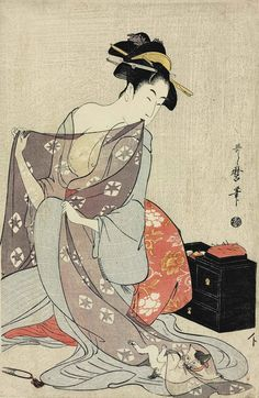 Kitagawa Utamaro was a Japanese artist. He is one of the most highly regarded practitioners of the ukiyo-e genre of woodblock prints, especially for his portraits of female beauties, or bijin-ga. Japan Illustration, Botanical Illustration, Oriental Print, Samurai Art, Japanese Painting, Chinese Painting, Korean Art, Japanese Prints, Japan Art