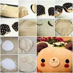 How to make cozy bear pillow step by step DIY instructions
