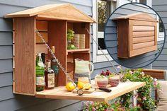 wall cabinet fold-down to counter | Wall Banger Liquor Cabinets - Home Bar Has Fold Down Countertop