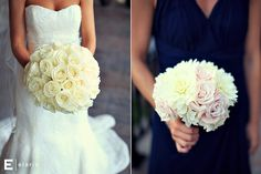 white rose bridal bouquet, bridesmaid bouquet with white dahlia, pink roses and white hydrangea by: fleurtacious designs