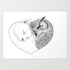 The Owl and the Pussycat in Love Art Print by The Tired Fox - $20.00