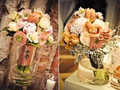 Romantic ivory, peach and coral bridal bouquets