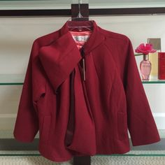 Byron Lars Beauty Mark jacket Distinctively Gorgeous. Dress to impress in this merlot red jacket, with bow detail. Pairing options abound - Jeans, slacks, leggings. 63% polyester 33% viscose 4% elastane. 3/4 sleeves and never worn, in excellent condition. Byron Lars Jackets & Coats