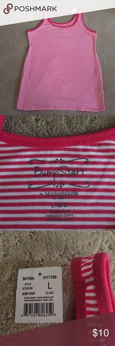 Bumpstart by Motherhood Maternity Tank Top Pink striped maternity tank top.  NWT. Motherhood Maternity Tops Tank Tops