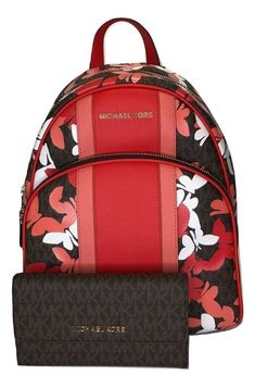 e59a3707472d Michael Kors Abbey Md and Matching Wallet Signature Mk Brown/Dk  Sangria/Butterlies Leather Backpack