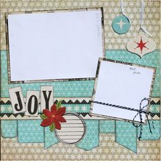 Premade Scrapbook Page 12 x 12 Christmas  Layout - Joy. $10.99, via Etsy.