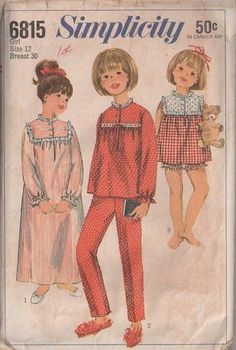 MOMSPatterns Vintage Sewing Patterns - Simplicity 6815 Vintage 60s Sewing Pattern SWEET Girls Modest Square Eyelet Lace Yoked Shortie Pajamas Top, Nightgown Gown, Pants or Bloomers