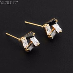 Hottest Fashion Jewelry White & Black Crystal Rhinestone Square Stud Earrings New for Woman Gold Earrings square Accessories
