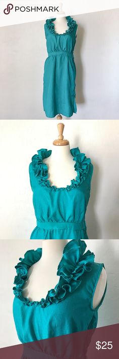 """Vintage Ruffle Collar Dress Fancy vintage teal dress with detailed ruffle collar! 32"""" long, 30"""" waist. Great condition, vintage. Ships within 48 hours. Dresses Midi"""