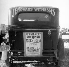 Back of car advertising for Jehovah's Wi