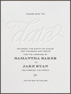 """Black Tie Script - Blind Letterpress"" Save the Date, by bluepoolroad, Paperless Post - wedding formal"