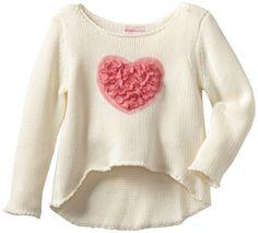 Design History Girls 2-6X Long Sleevbe Hi Lo Sweater Heart Detail $48.00