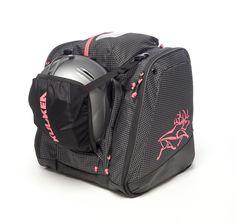 Kulkea Powder Trekker - Black Pink & White Ski Boot Bag. Available in 4 attractive colors. See them at www.kulkea.com ❆ #skiing #gear #bag #girls #women