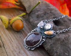 Autumn Sapphire Necklace No 1 - Keum Boo Necklace