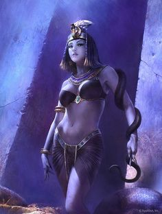 """Wadjet (the Serpent Goddess) - """"She Who is Green"""" (green color of the cobra); nurse to the infant god Horus and helped Isis, protect him from his treacherous uncle, Seth"""