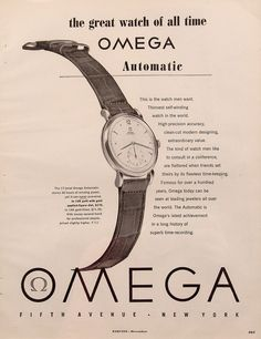 1949 Omega Automatic Watch Vintage Magazine Ad. #omega #automatic #watch #ads #vintage #watches #stawc