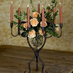 The perfect centerpiece for a vineyard wedding, this graceful planter is exquisite filled with greenery and alight with candles, $290.00