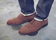 SUEDE STEPS    Roll your jeans and slip on a velvety-soft suede shoe.    Freeport denim, Alexie shoe.