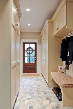 Mudroom Lockers with Bench Entry Traditional with Beige Bench Beige Cabinets