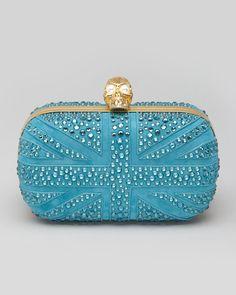 Alexander McQueen Britannia Crystal Skull-Clasp Clutch Bag, Turquoise - Neiman Marcus