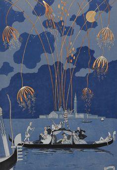 En bateau. Fireworks in Venice. Artist: George Barbier, 1928
