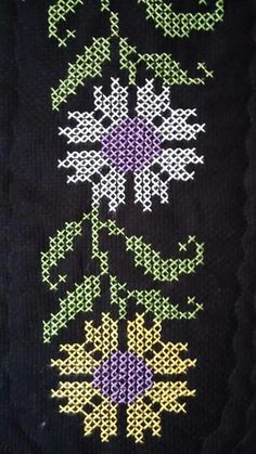This Pin was discovered by Eda Embroidery Needles, Ribbon Embroidery, Floral Embroidery, Cross Stitch Embroidery, Cross Stitch Borders, Cross Stitch Designs, Cross Stitch Patterns, Prayer Rug, Dream Catcher