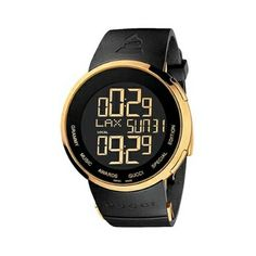 Gucci's high fashion leanings are apparent in this stylish and contemporary I Gucci model with the Grammy Logo embedded into the black rubber strap with a gold tone Deployment Clasp. The Watch is water resistant to 30m