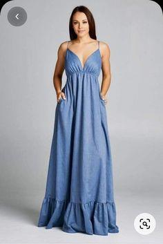 Simple Dresses, Cute Dresses, Beautiful Dresses, Casual Dresses, Fashion Dresses, Summer Dresses, Denim Maxi Dress, Dress Skirt, Dress Prom