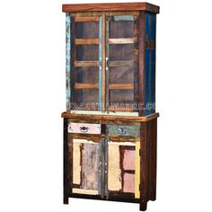 Recycled wood curio with glass top and2 drawer 2door base