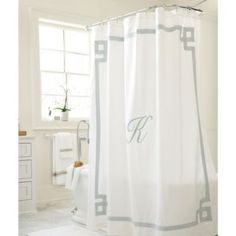 Greek Key Linen Shower Curtain; available in 2 colors at Ballard Designs; $109
