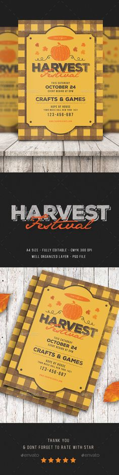 Harvest festival flyer Design Template - Events Flyers template PSD. Download here: https://graphicriver.net/item/harvest-festival-flyer/17711299?ref=yinkira