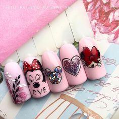 """💅Nail blog Ярославы Быковой on Instagram: """"Какой дизайн больше нравится? 1,2,3,4,5?💗💗💗 By @stil_ru ⠀ ⠀ ●○●○● #красивыеногти #дизайнногтей #идеальныеблики #идеальныйманикюр…"""" Disney Acrylic Nails, Best Acrylic Nails, Acrylic Nail Designs, Mickey Nails, Minnie Mouse Nails, Cute Nail Art, Cute Nails, Nail Art Dessin, Valentine Nail Art"""