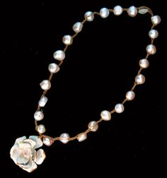 Freshwater Pearl w Vintage Shabby Metal by LilBlackDressVintage, $35.00