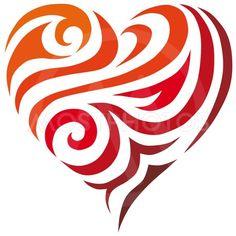 A red heart in shape of a tribal pattern / Rött hjärta. Tribal Drawings, Cool Drawings, Stencil Patterns, Stencil Designs, Valentine Heart, Valentines Diy, Gifs Ideas, Tribal Heart, Do It Yourself Inspiration