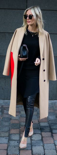 beige coat with red accent