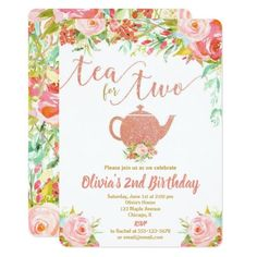 Shop Tea for two rose gold birthday invitation girl created by StyleswithCharm. Personalize it with photos & text or purchase as is! 3rd Birthday Party For Girls, Girl Birthday Themes, 3rd Birthday Parties, Gold Birthday, Birthday Ideas, Happy Birthday, November Birthday, Paris Birthday, Spa Birthday