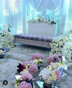 Beautiful pelamin with fresh flower
