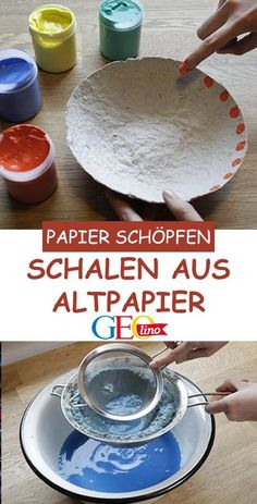Scooping paper: Trays made from waste paper- Papierschöpfen: Schalen aus Altpapier Grab a few sheets of old newspaper and make beautiful bowls from old paper! GEOlino provides instructions for scooping paper. with children - Paper Clay, Diy Paper, Paper Crafts, Tissue Paper, Upcycled Crafts, Handmade Crafts, Diy Crafts For Kids, Arts And Crafts, Creative Crafts