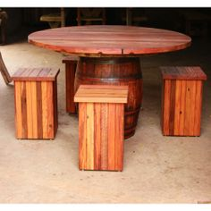 Wine barrel table and seats