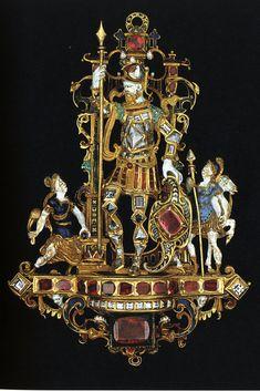 https://flic.kr/p/cTJWQm | Germany.Pendant w David and Goliath.16C.gold,enamel.[Dresden]