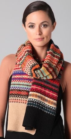 Sonia Rykiel Fair Isle Scarf - delicate mix of motifs and colors