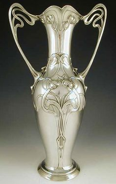 WMF Art Nouveau Polished Pewter Maiden Vase