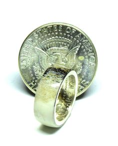 Silver American half dollar coin ring with Irish deer antler Stag Deer, Deer Antlers, Deer Antler Wedding, Coin Ring, Dollar Coin, Half Dollar, Unique Colors, Horns, Irish