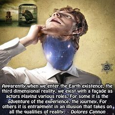 Apparently when we enter the Earth existence, the third dimensional reality, we exist with a façade as actors playing various roles. For some it is the adventure of the experience, the journey. For others it is entrapment in an illusion that takes on all the qualities of reality. ~ Dolores Cannon
