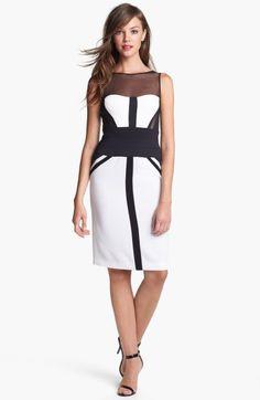 Bcbgmaxazria Illusion Yoke Colorblock Sheath Dress in White (Black Combo)