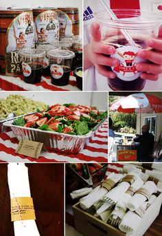 #baseball theme birthday party with root beer kegs and hot dog cart