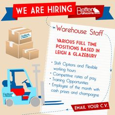 Our warehouses are the engine rooms of our company, and we need Warehouse Staff in both Glazebury and Leigh to help us to continue providing a top notch service for our customers. Interested? Email your CV to jobs@betterbathrooms.com to apply.